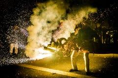 Ball de Diables sur Correfoc à Barcelone Photos libres de droits