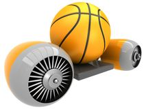 Ball des Basketballs 3D auf Fliegenmaschine Stockbild