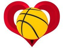 Ball des Basketballs 3D im roten Herzen Stockfotos