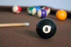 Ball des Billardtisch-Schwarz-8 stockbilder