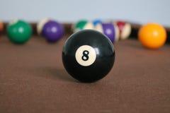Ball des Billardtisch-Schwarz-8 lizenzfreie stockfotos