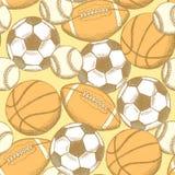 Ball des Fußballs, des amerikanischen Fußballs, des Baseballs und des Basketballs Stockfotos