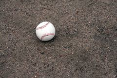 Ball in the dirt. Baseball in the dirt around home plate Royalty Free Stock Images