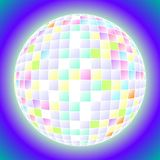 Ball disco. Colored rays in a mirrored disco ball stock illustration