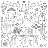 Ball Doodle Set. With celebration objects and elements on white background. Coloring page Stock Images