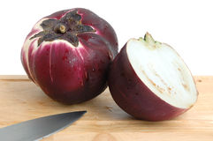 Ball eggplants. On a white background Stock Photography