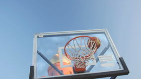 The Ball Enters the Basket Basketball. Basketball Playing Slow Motion Video stock footage