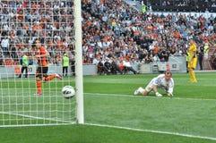 The ball enters the goal Stock Photos
