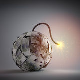 Ball of Euro bills shaped like an old bomb. Government debt and financial crisis concept Stock Photo