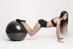 ball exercising fitness woman Στοκ Φωτογραφίες