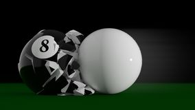 8 Ball explosion. The billiard ball # 8 is hit by the white ball stock illustration