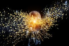 Ball explosion on black Royalty Free Stock Image