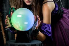 Ball of fate in the hands of a successful fortune teller. Closeup Royalty Free Stock Images