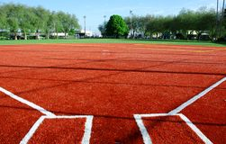 Ball Field Base Line. New Ball Field in Seattle Stock Images