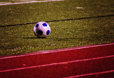 Ball in the field. Soccer ball or football ball on  field ready for the game Stock Photography