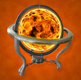 Ball of Fire. A ball of fire placed in a spinning globe Stock Photos