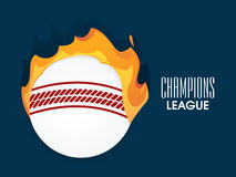 Ball in fire for Cricket Champions League. Royalty Free Stock Images