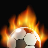 Ball on fire. Football ball in fire isolated on black background. vector illustration Royalty Free Stock Images