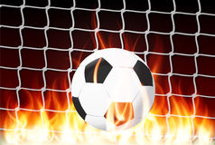 Ball fire in the goal football Stock Images