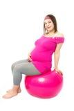 ball fitmess pregnant woman Стоковые Фотографии RF