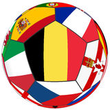 Ball with flag of Belgium in the center Royalty Free Stock Photography