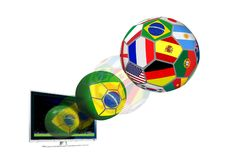 Ball with Flag Flying out from LCD Royalty Free Stock Photos