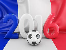 Ball and flag of France. Ball for football and volumetric figures in 2016 on the background the flag of France Stock Image