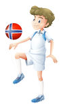 A ball with the flag of Norway played by the football player. Illustration of a ball with the flag of Norway played by the football player on a white background Royalty Free Stock Photography