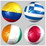 Ball  flags of the teams in Group C World Cup 2014 Stock Photo