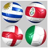 Ball  flags of the teams in Group D World Cup 2014 Royalty Free Stock Photo