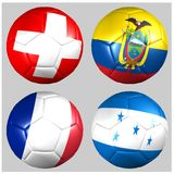 Ball with flags of the teams in Group E World Cup 2014. On white background Royalty Free Stock Photos