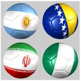 Ball with flags of the teams in Group F World Cup 2014 Royalty Free Stock Photo
