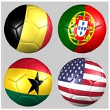 Ball with flags of the teams in Group G World Cup 2014. On white background Royalty Free Stock Photos