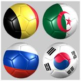 Ball with flags of the teams in Group H World Cup 2014 Royalty Free Stock Photos