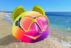 Ball, flip-flop and diving mask Stock Photography