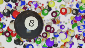 An 8 Ball Floating in Space With a Background of Random Pool Balls. An 8 ball floating in a white space filled with assorted pool balls. This image is a 3D vector illustration