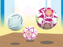 3 ball flower motif colorfull. 3 ball is object to design flower motif in wallpaper stock photo