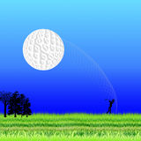 Ball flying. Golf ball flying in the direction of the pit Stock Photography