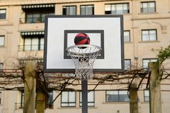Ball flying into the basketball net Royalty Free Stock Image