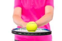 Ball in focus close-up lying on the racquet Royalty Free Stock Photo