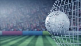 Ball with AFC Ajax football club logo hits football goal net. Conceptual editorial 3D rendering