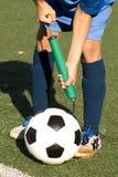 Ball football repair inflating royalty free stock images