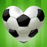 Ball for football in the shape of heart Royalty Free Stock Photography