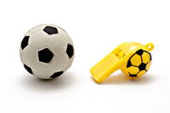 Ball football and whistle Stock Photo