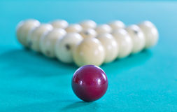 Ball forf Russian billiards on green Royalty Free Stock Image