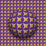 Ball with a four pointed stars pattern rolling along four pointed stars surface. Abstract vector optical illusion illustration. Motley background and tile of royalty free illustration