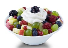 Ball of Fruits Salad with Cream Topping Stock Photos