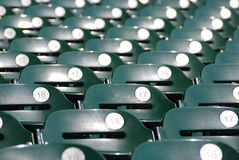 Before the Ball Game. A row of stadium seats waiting for fans to come and fill them for the big game Royalty Free Stock Images