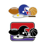 Ball Game. Illustration of different ball games such as Tennis, Basketball, Rugby or American Football Stock Photo