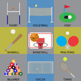 Ball game icon basketball, soccer, golf and volleyball Stock Images
